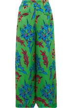 Etro | Etro - Floral-print Hammered Silk-satin Wide-leg Pants - Green | Clouty