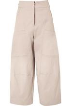 Chloé | Chloe - Cropped Stretch-cotton Wide-leg Pants - Gray | Clouty