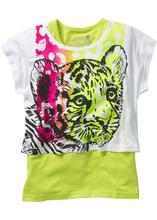 Bonprix | Короткая футболка + тэнк топ (2 изделия в упаковке) (белый с рисунком тигра/зеленый киви) | Clouty