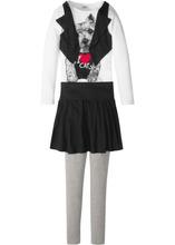 Bonprix | Футболка с жилетом + юбка + легинсы (3 изд.) (светло-серый меланж/белый/черный) | Clouty