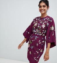 ASOS   Платье мини с вышивкой ASOS TALL - Фиолетовый   Clouty