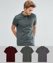 ASOS   Комплект из 3 футболок-поло с воротником на пуговицах ASOS DESIGN   Clouty