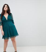 ASOS | Короткое приталенное платье с кружевной отделкой ASOS CURVE - Зеленый | Clouty