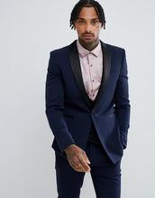 ASOS | Темно-синий пиджак-смокинг приталенного кроя ASOS - Темно-синий | Clouty