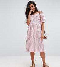 ASOS | Платье в полоску с открытыми плечами ASOS Maternity - Красный | Clouty