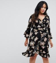 Club L | Платье с рукавами 3/4, запахом и цветочным принтом Club L Plus | Clouty