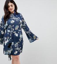 ASOS | Платье мини с рукавами-кимоно и поясом ASOS CURVE - Мульти | Clouty
