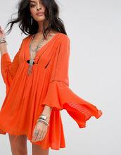 Free People | Платье с рукавами клеш Free People Romeo - Оранжевый | Clouty