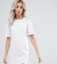 ASOS | Платье-футболка с отворотами на рукавах ASOS PETITE Ultimate - Белый | Clouty