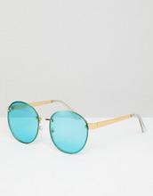 ASOS   Круглые солнцезащитные очки в золотистой оправе с бирюзовыми стеклами   Clouty