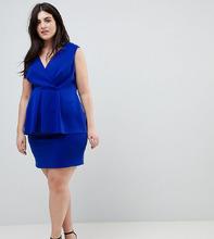ASOS | Платье мини с баской и глубоким вырезом ASOS CURVE - Синий | Clouty