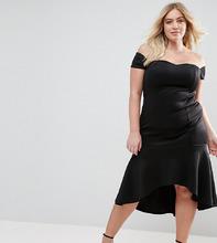 Club L | Платье с оборкой на подоле Club L Plus - Черный | Clouty