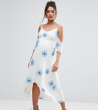 ASOS | Платье миди с открытыми плечами, вышивкой и асимметричным подолом ASOS | Clouty