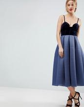 ASOS | Платье миди для выпускного с бархатным лифом ASOS PREMIUM Airtex | Clouty