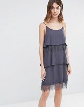 Vila | Ярусное кружевное платье на бретельках Vila - Серый | Clouty
