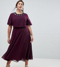 ASOS | Приталенное платье миди с кроп-топом и 3D-отделкой ASOS CURVE | Clouty