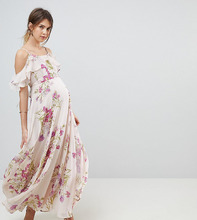 ASOS | Платье макси с цветочным принтом и вырезами на плечах ASOS MATERNITY | Clouty
