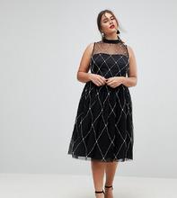 ASOS | Платье миди для выпускного с отделкой искусственным жемчугом ASOS CURV | Clouty