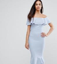 Vesper | Платье-футляр с открытыми плечами, оборками и кружевом Vesper | Clouty