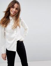 ASOS   Атласная рубашка в стиле вестерн с бахромой ASOS - Кремовый   Clouty