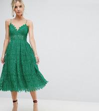 ASOS | Кружевное платье миди для выпускного ASOS PETITE - Зеленый | Clouty