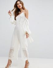 ASOS | Комбинезон с открытыми плечами и вышивкой ASOS - Белый | Clouty