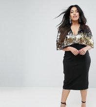 Club L | Платье миди с топом с пайетками Club L Plus - Черный | Clouty