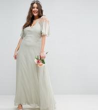ASOS | Платье макси с кейпом и кружевом ASOS CURVE WEDDING - Зеленый | Clouty