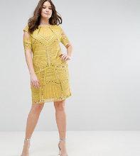 ASOS | Платье с вырезами на плечах ASOS CURVE - Желтый | Clouty