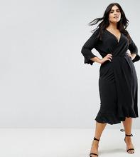 ASOS | Платье миди с запахом и оборками ASOS CURVE - Темно-синий | Clouty