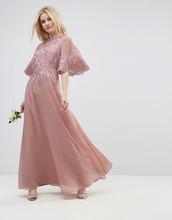 ASOS | Платье макси с аппликацией и рукавами клеш ASOS WEDDING - Бежевый | Clouty
