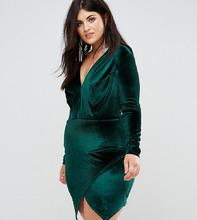 Club L | Бархатное платье с запахом на юбке Club L Plus - Зеленый | Clouty