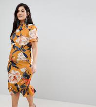 ASOS | Платье-футболка миди с цветочным принтом ASOS CURVE - Мульти | Clouty