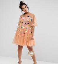 ASOS | Сетчатое платье мини с пайетками ASOS CURVE - Мульти | Clouty