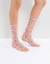 ASOS | Прозрачные носки в горошек со сборками ASOS - Розовый | Clouty
