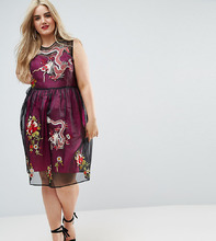 ASOS | Сетчатое платье миди с контрастной подкладкой и вышивкой ASOS CURVE PR | Clouty