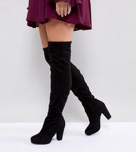 New Look | Сапоги-ботфорты на каблуке для широкой стопы из искусственной замши Ne | Clouty