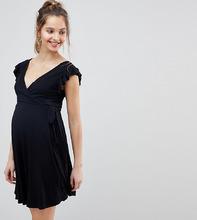 ASOS | Сарафан с оборками на рукавах и запахом ASOS DESIGN Maternity - Черный | Clouty