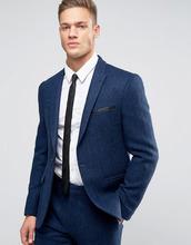ASOS | Ярко-синий узкий пиджак из 100% шерсти в елочку ASOS - Темно-синий | Clouty