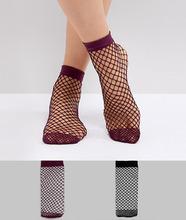 ASOS | 2 пары носков в крупную сетку черного/ягодного цвета ASOS - Мульти | Clouty