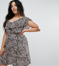 Club L | Короткое приталенное платье с леопардовым принтом и оборками Club L Pl | Clouty