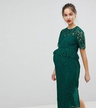 ASOS | Кружевное платье-футляр с баской ASOS MATERNITY - Зеленый | Clouty
