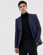 ASOS | Темно-синий облегающий блейзер из фактурной ткани с добавлением шерсти | Clouty