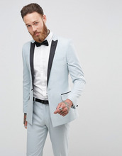 ASOS | Синий приталенный пиджак ASOS Wedding - Синий | Clouty