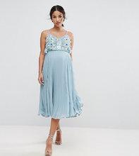 ASOS | Плиссированное платье на бретелях с цветочной отделкой ASOS Maternity | Clouty