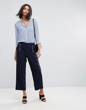 Y.A.S.   Укороченные приталенные брюки с пуговицами Y.A.S - Темно-синий   Clouty