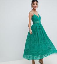 ASOS | Кружевное платье миди для выпускного ASOS TALL - Зеленый | Clouty