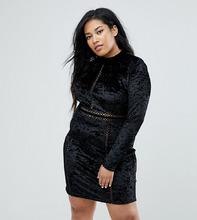 Club L | Бархатное платье мини с длинными рукавами Club L Plus - Черный | Clouty