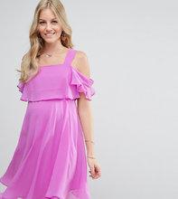 ASOS | Платье мини на бретельках с открытыми плечами и рукавами клеш ASOS Mat | Clouty