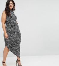 Club L | Платье с блестками и высоким воротом Club L Plus - Черный | Clouty